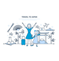 mum with daughter travel to japan vector image