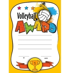 template certificate volleyball vector image