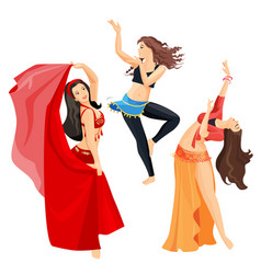 belly dancers set of girls isolated on white vector image