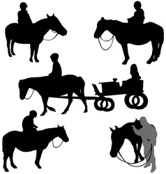children riding horses vector image vector image