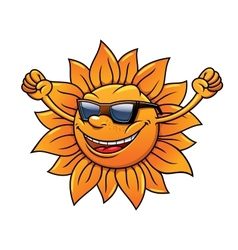 Fun loving tropical sun in sunglasses vector image