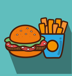 hamburger and fries french food icon vector image
