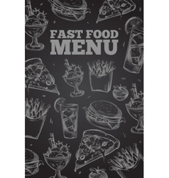 Hand drawn fast food on chalkboard in vector image vector image