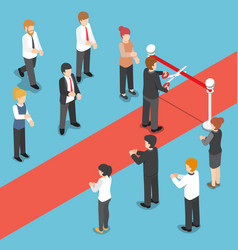 isometric businessman cutting red ribbon at grand vector image