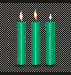 realistic green glowing candles with melted wax vector image vector image