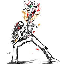 rocker guitarist bass solo vector image