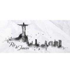 Silhouette ink Rio de Janeiro vector image vector image