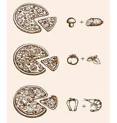 Vintage hand drawn pizza and ingredients vector image