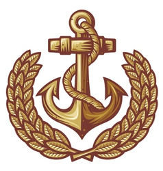 anchor and laurel wreath vector image vector image