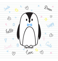 cute hand drawn postcard with funny penguin card vector image