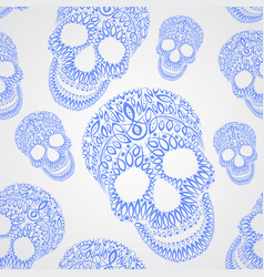 ornamental pattern skull seamless texture vector image vector image