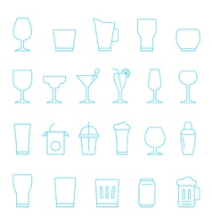 Thin lines icon set - glass and beverage vector image vector image