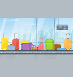 airport conveyor belt with passenger luggage bag vector image