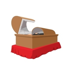 An open coffin cartoon icon vector