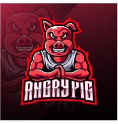 Angry pig esport mascot logo design vector
