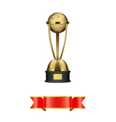 Awarding statuette with globe or planet on stand vector