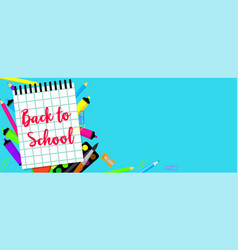 back to school blue banner horizontal flat style vector image