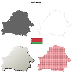 Belarus outline map set vector
