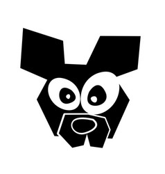 black icon funny dog face vector image