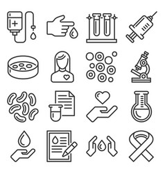 blood test and donation icons set line style vector image
