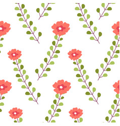 blooming flower and branches with leaves vector image
