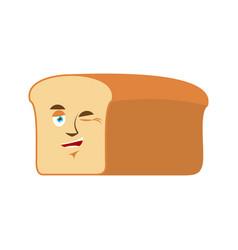 bread winks emoji piece of bread happy emotion vector image