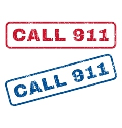 Call 911 Rubber Stamps vector