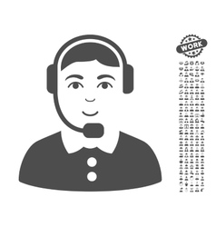 Call Center Operator Icon With Bonus vector image
