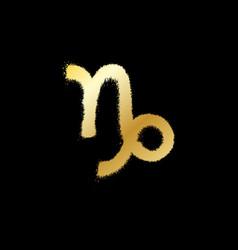 Capricorn zodiac sign gold paint sprayed icon vector