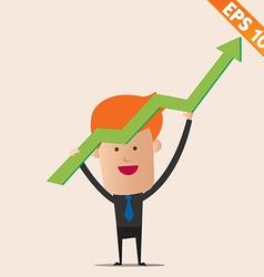 Cartoon Businessman positive graph - - EPS10 vector