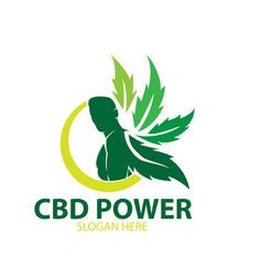 cbd man power logo designs cannabis vector image