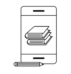 cellphone with book black and white vector image