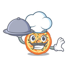 chef with food seafood pizza in mascot shape vector image