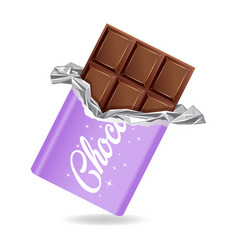 chocolate bar in opened purple wrapped and foil vector image