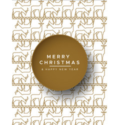 Christmas new year gold outline reindeer card vector