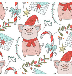 Christmas seamless pattern with detailed vector