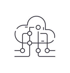 Cloud information technology line icon concept vector