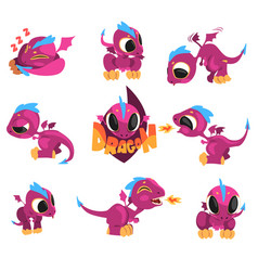 Collection of cartoon baby dragon for game design vector