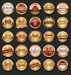 collection of golden retro vintage badges 02 vector image