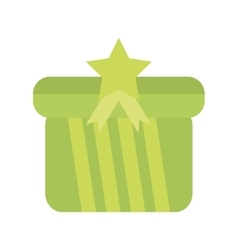 Colored gift box squared green star bow stripes vector