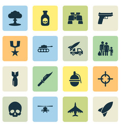 combat icons set collection of missile fugitive vector image