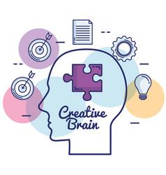 creative brain set icons vector image