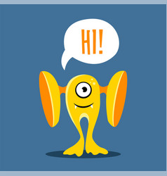 cute card with yellow monster cartoon style vector image