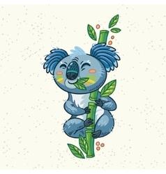 Cute cartoon koala on a tree vector