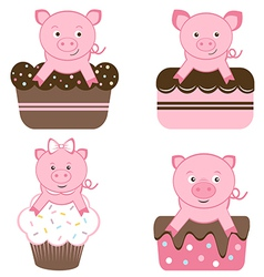 Cute pigs on cakes vector image