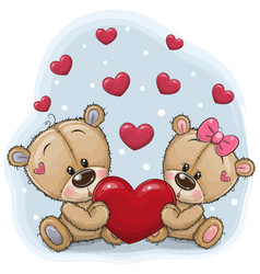 Cute teddy bears with heart vector