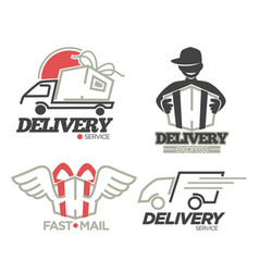 delivery logo templates set for post mail food or vector image