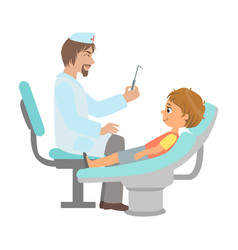 Dentist checking teeth of little boy part of kids vector
