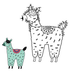 Dot to game with funny llama for kids connect vector