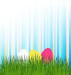 Easter eggs in the meadow vector image